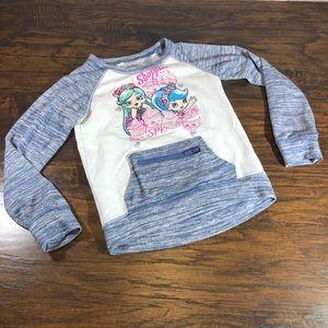 Shopkins Girls Top w/Zipper pouch Size 7-8